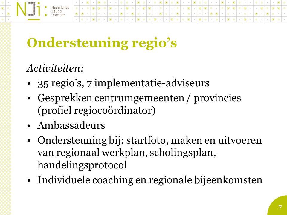 7 Ondersteuning regio's Activiteiten: 35 regio's, 7 implementatie-adviseurs Gesprekken centrumgemeenten / provincies (profiel regiocoördinator) Ambassadeurs Ondersteuning bij: startfoto, maken en uitvoeren van regionaal werkplan, scholingsplan, handelingsprotocol Individuele coaching en regionale bijeenkomsten