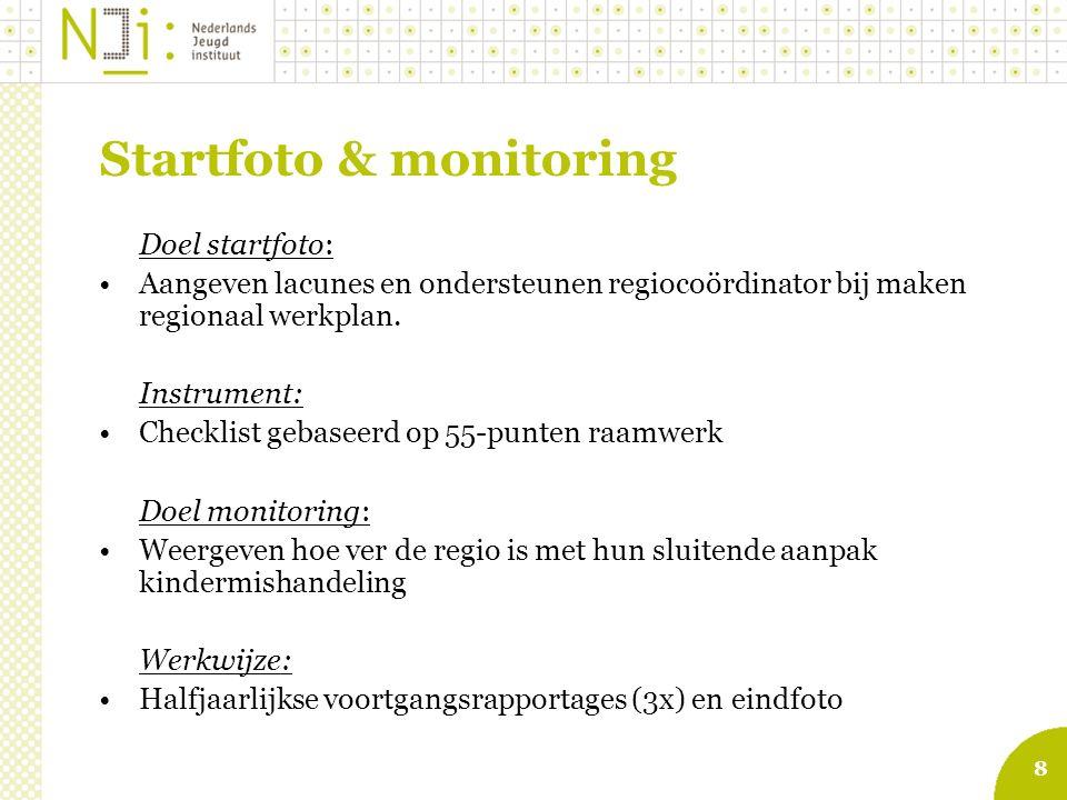 8 Startfoto & monitoring Doel startfoto: Aangeven lacunes en ondersteunen regiocoördinator bij maken regionaal werkplan.