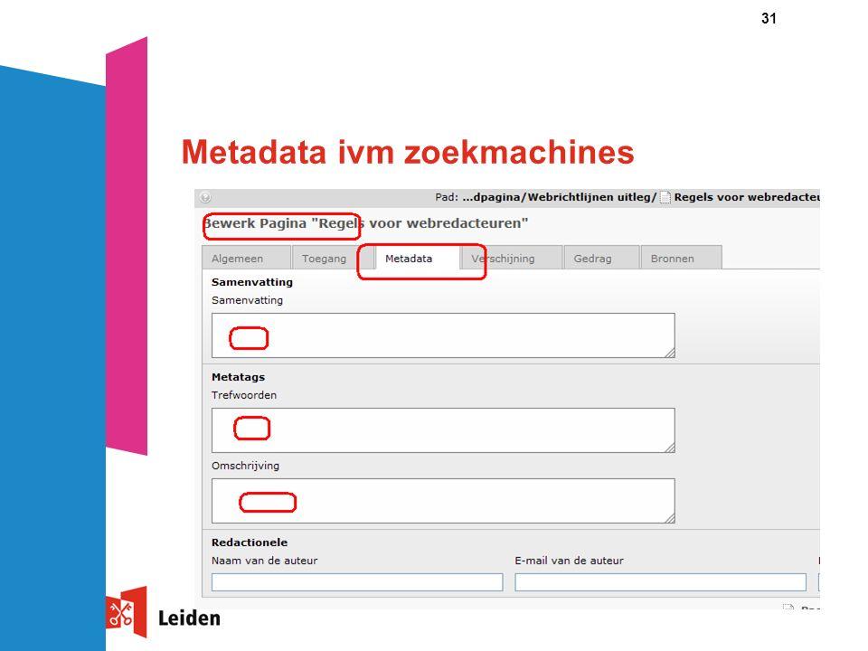 31 Metadata ivm zoekmachines