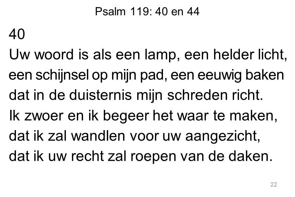Psalm 119: 40 en 44 40 Uw woord is als een lamp, een helder licht, een schijnsel op mijn pad, een eeuwig baken dat in de duisternis mijn schreden richt.