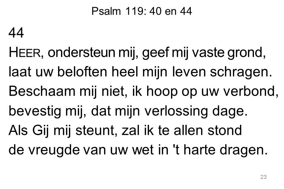 Psalm 119: 40 en 44 44 H EER, ondersteun mij, geef mij vaste grond, laat uw beloften heel mijn leven schragen.