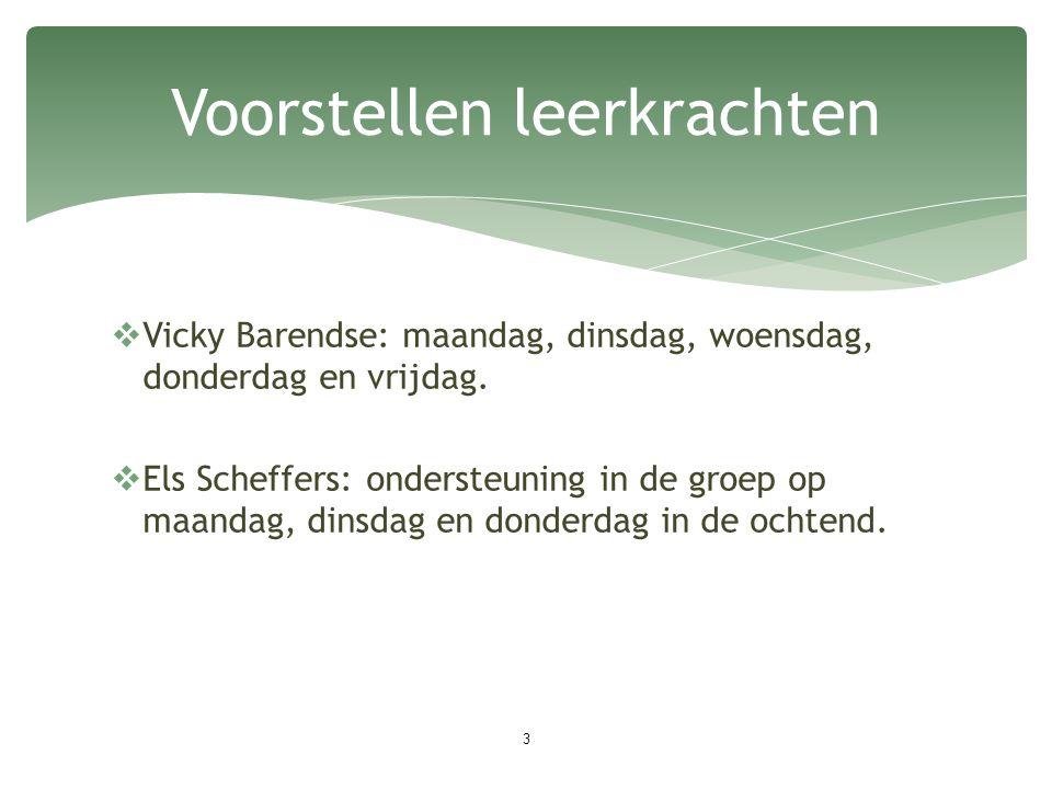  Vicky Barendse: maandag, dinsdag, woensdag, donderdag en vrijdag.  Els Scheffers: ondersteuning in de groep op maandag, dinsdag en donderdag in de