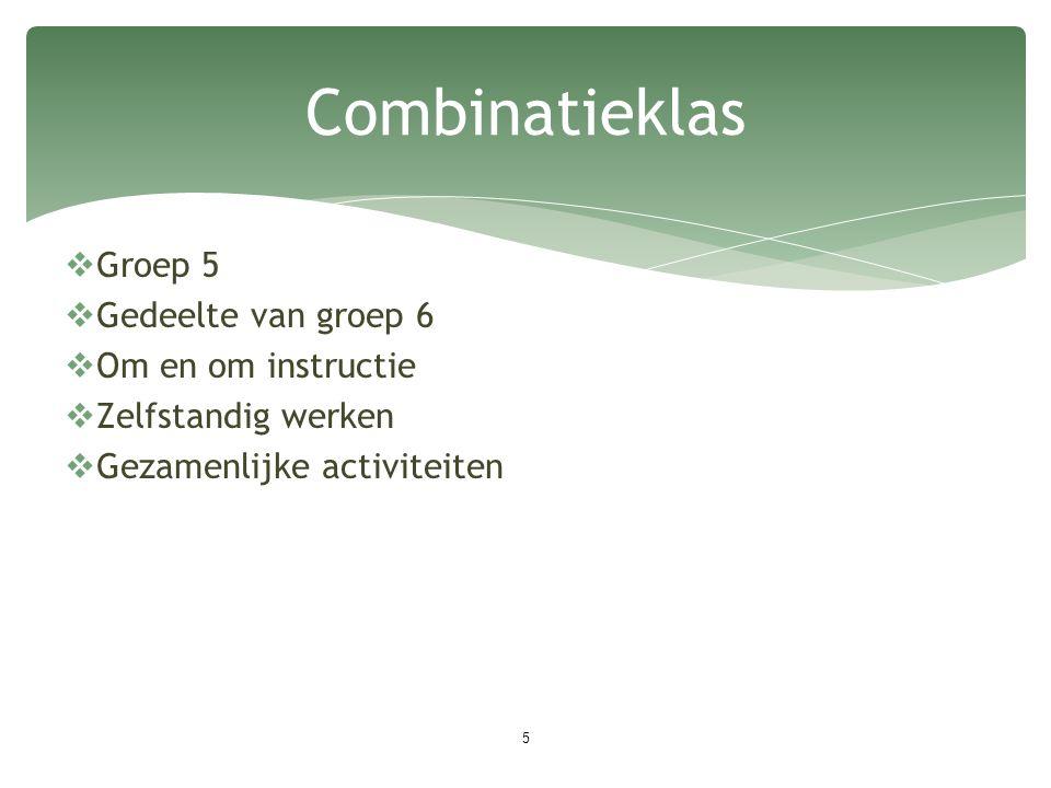 Combinatieklas 5  Groep 5  Gedeelte van groep 6  Om en om instructie  Zelfstandig werken  Gezamenlijke activiteiten