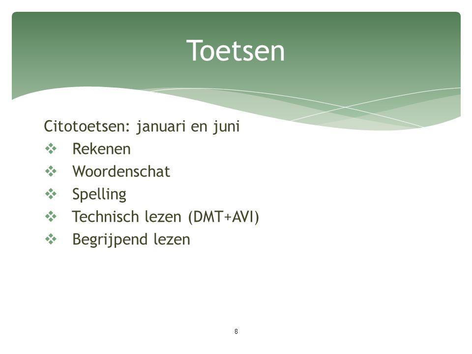 Citotoetsen: januari en juni  Rekenen  Woordenschat  Spelling  Technisch lezen (DMT+AVI)  Begrijpend lezen 8 Toetsen
