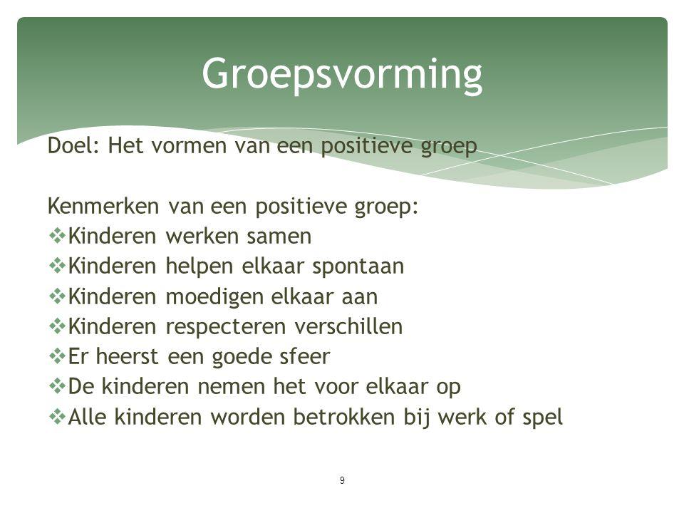 Doel: Het vormen van een positieve groep Kenmerken van een positieve groep:  Kinderen werken samen  Kinderen helpen elkaar spontaan  Kinderen moedi