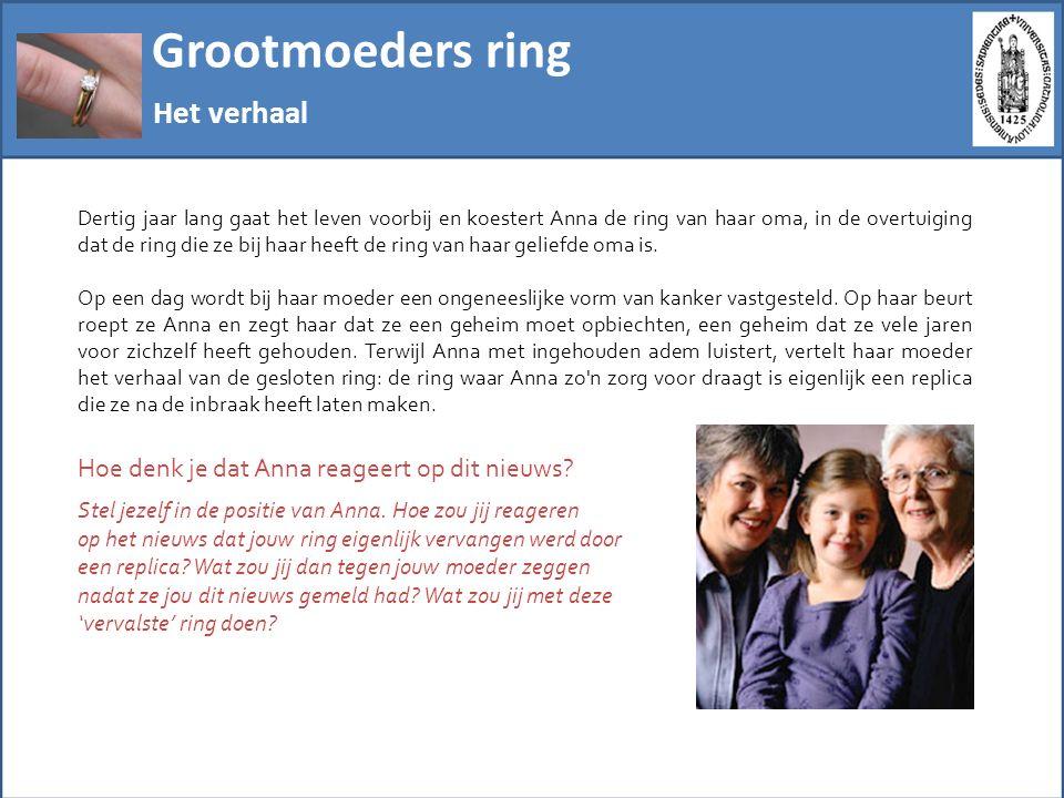 Grootmoeders ring En het verhaal gaat voort … Vier mogelijke reacties 1) Anna is onthutst.