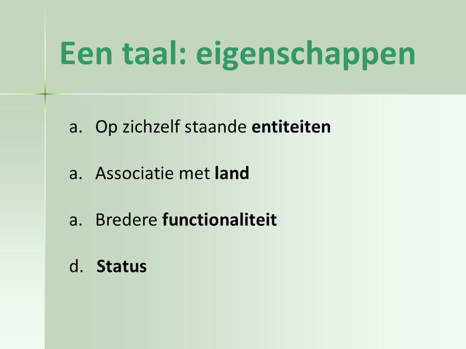 Een taal: eigenschappen a.Op zichzelf staande entiteiten a.Associatie met land a.Bredere functionaliteit d.