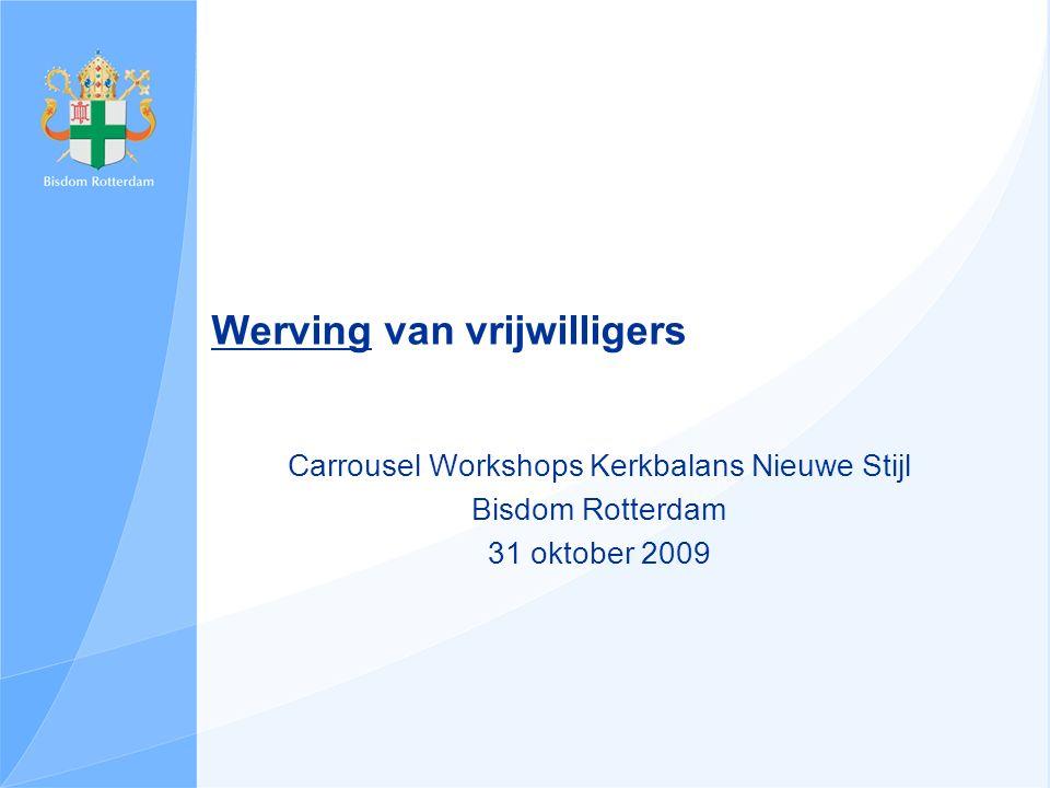Werving van vrijwilligers Carrousel Workshops Kerkbalans Nieuwe Stijl Bisdom Rotterdam 31 oktober 2009