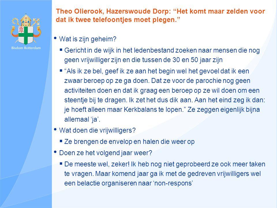 Theo Olierook, Hazerswoude Dorp: Het komt maar zelden voor dat ik twee telefoontjes moet plegen. Wat is zijn geheim.
