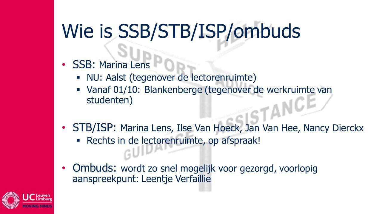 Wie is SSB/STB/ISP/ombuds SSB: Marina Lens  NU: Aalst (tegenover de lectorenruimte)  Vanaf 01/10: Blankenberge (tegenover de werkruimte van studente