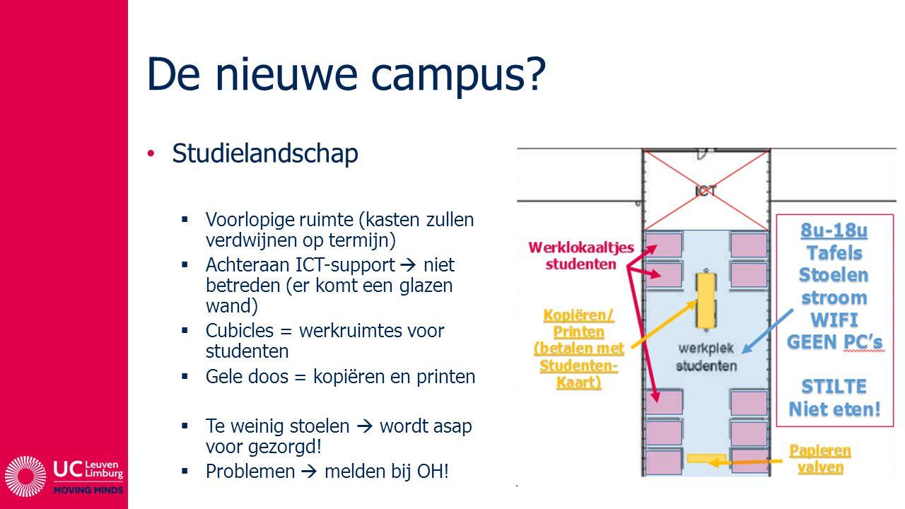 De nieuwe campus? Studielandschap  Voorlopige ruimte (kasten zullen verdwijnen op termijn)  Achteraan ICT-support  niet betreden (er komt een glaze