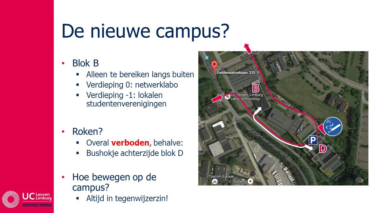 De nieuwe campus? Blok B  Alleen te bereiken langs buiten  Verdieping 0: netwerklabo  Verdieping -1: lokalen studentenverenigingen Roken?  Overal