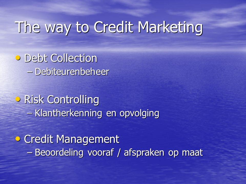 The way to Credit Marketing Debt Collection Debt Collection –Debiteurenbeheer Risk Controlling Risk Controlling –Klantherkenning en opvolging Credit Management Credit Management –Beoordeling vooraf / afspraken op maat