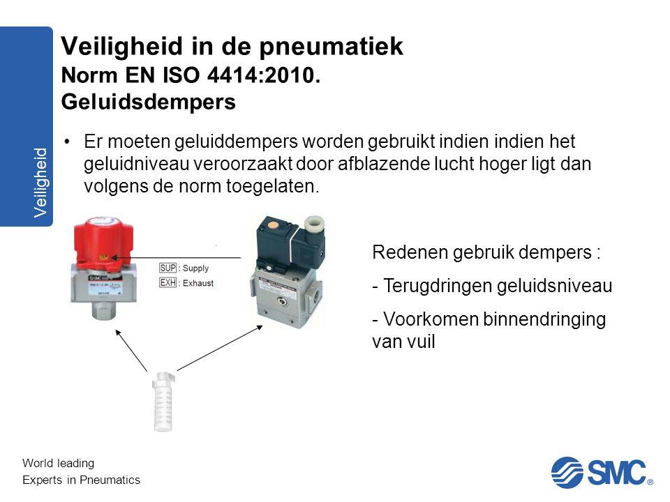 World leading Experts in Pneumatics Veiligheid Er moeten geluiddempers worden gebruikt indien indien het geluidniveau veroorzaakt door afblazende luch