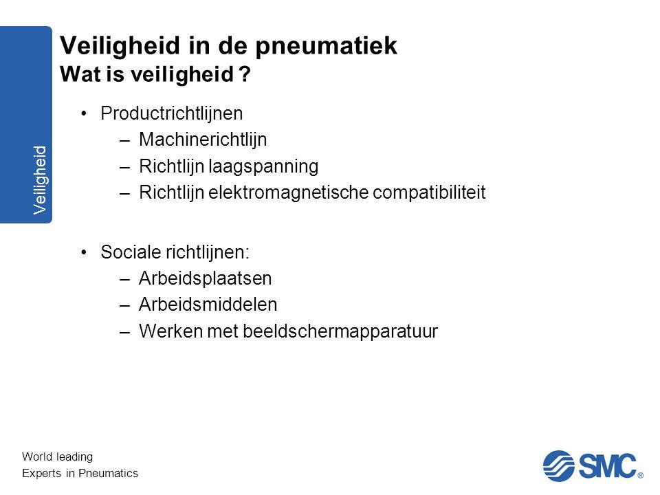 World leading Experts in Pneumatics Veiligheid Productrichtlijnen –Machinerichtlijn –Richtlijn laagspanning –Richtlijn elektromagnetische compatibilit