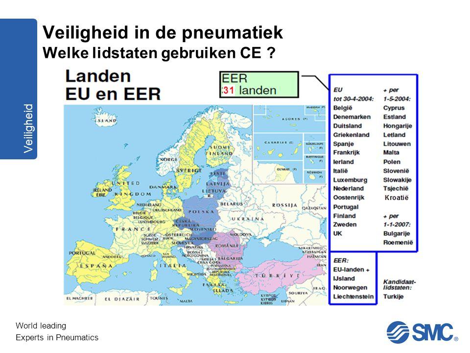 World leading Experts in Pneumatics Veiligheid Veiligheid in de pneumatiek Welke lidstaten gebruiken CE ?
