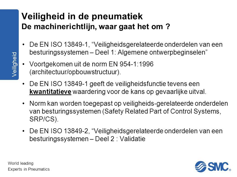 """World leading Experts in Pneumatics Veiligheid De EN ISO 13849-1, """"Veiligheidsgerelateerde onderdelen van een besturingssystemen – Deel 1: Algemene on"""