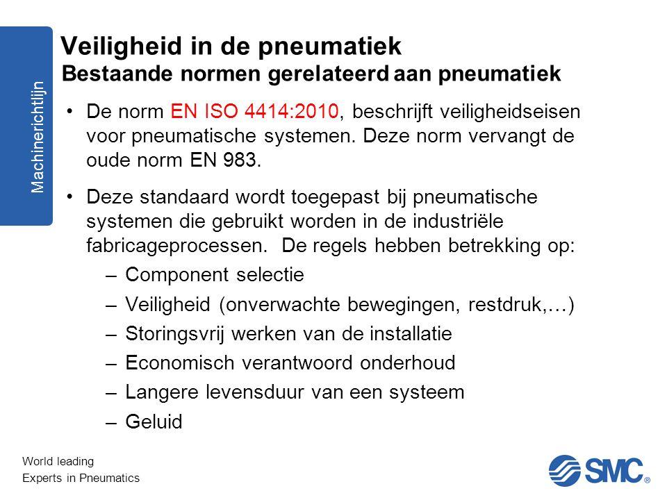 World leading Experts in Pneumatics De norm EN ISO 4414:2010, beschrijft veiligheidseisen voor pneumatische systemen. Deze norm vervangt de oude norm