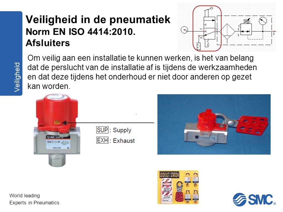 World leading Experts in Pneumatics Veiligheid Om veilig aan een installatie te kunnen werken, is het van belang dat de perslucht van de installatie a