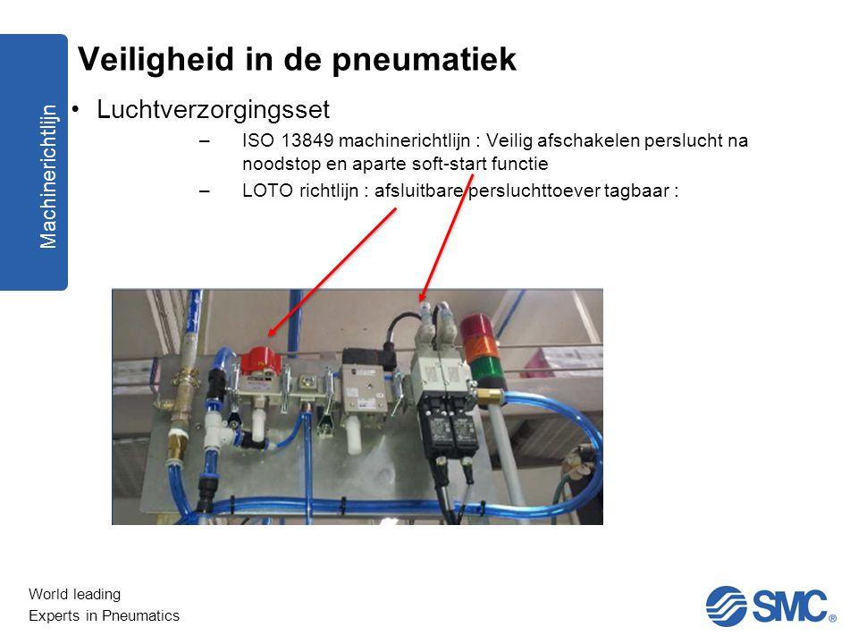 World leading Experts in Pneumatics Luchtverzorgingsset –ISO 13849 machinerichtlijn : Veilig afschakelen perslucht na noodstop en aparte soft-start fu