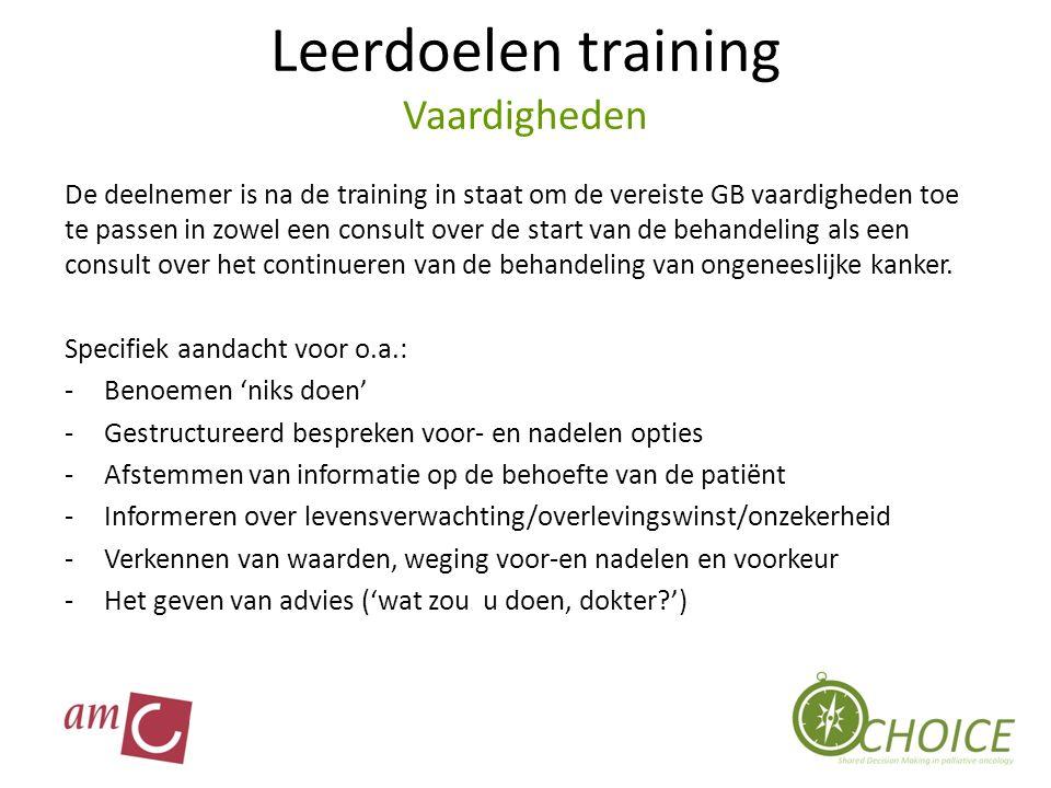 Leerdoelen training Vaardigheden De deelnemer is na de training in staat om de vereiste GB vaardigheden toe te passen in zowel een consult over de sta