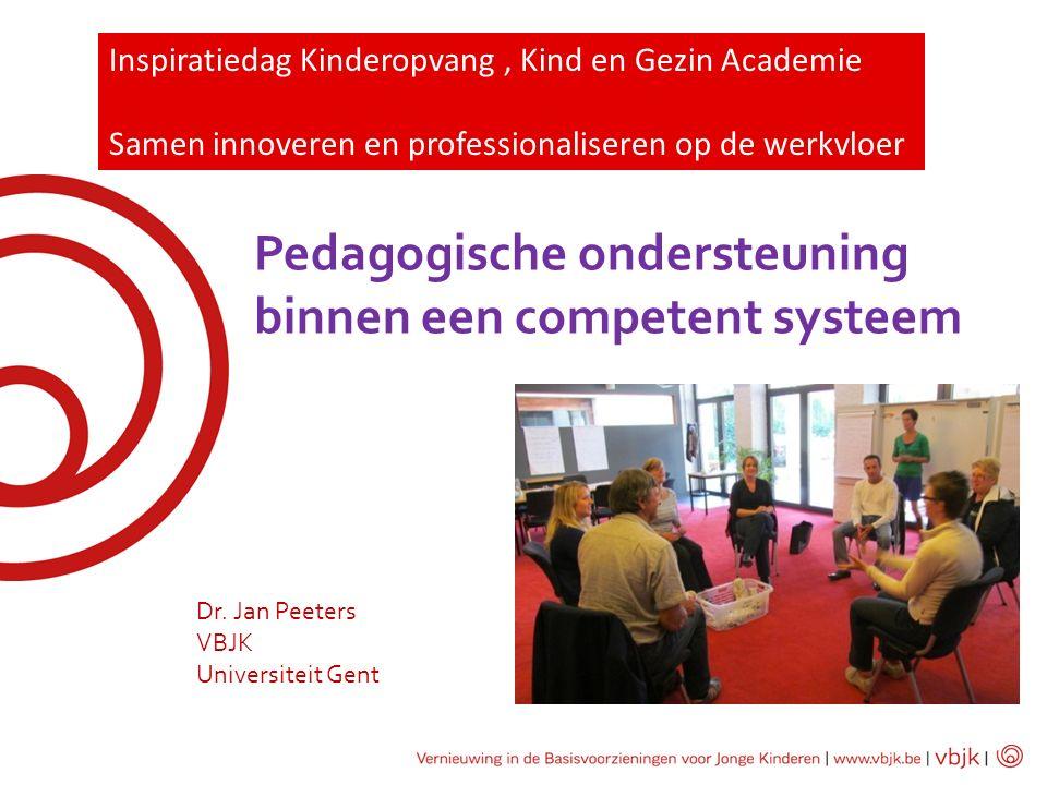 Pedagogische ondersteuning binnen een competent systeem Dr. Jan Peeters VBJK Universiteit Gent Inspiratiedag Kinderopvang, Kind en Gezin Academie Same