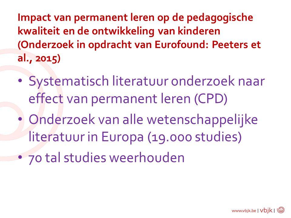 Systematisch literatuur onderzoek naar effect van permanent leren (CPD) Onderzoek van alle wetenschappelijke literatuur in Europa (19.000 studies) 70