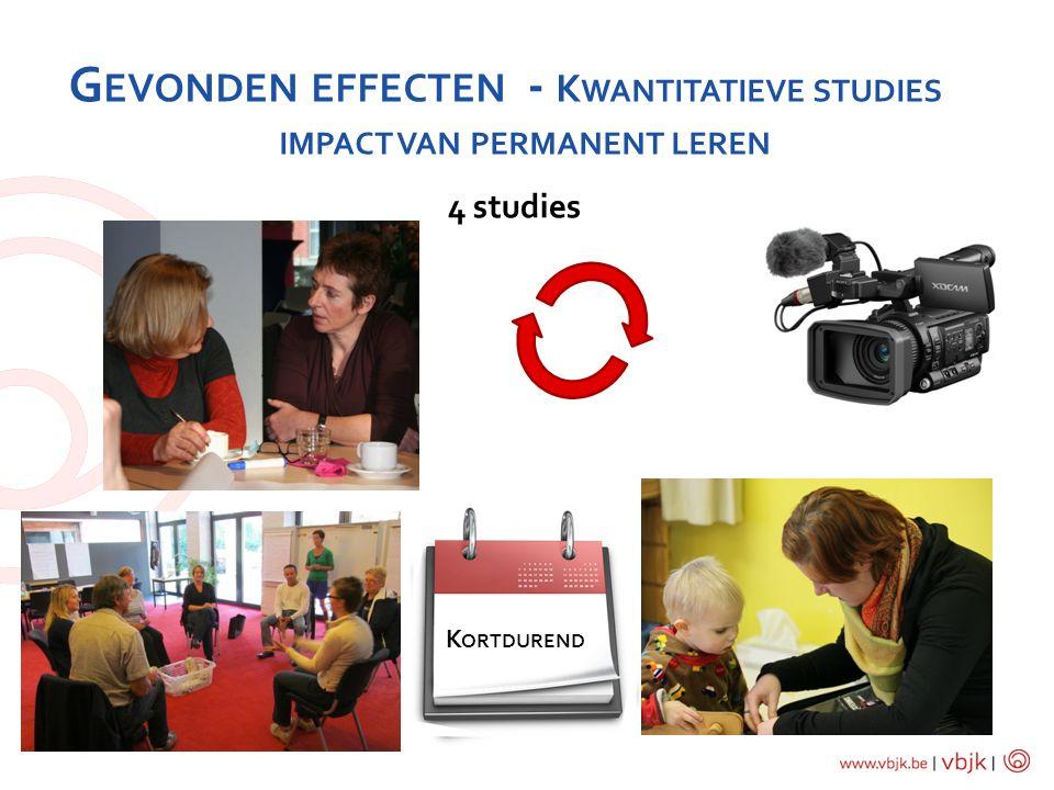 G EVONDEN EFFECTEN - K WANTITATIEVE STUDIES IMPACT VAN PERMANENT LEREN 4 studies K ORTDUREND