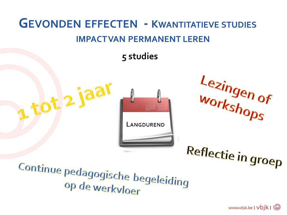 G EVONDEN EFFECTEN - K WANTITATIEVE STUDIES IMPACT VAN PERMANENT LEREN 5 studies L ANGDUREND