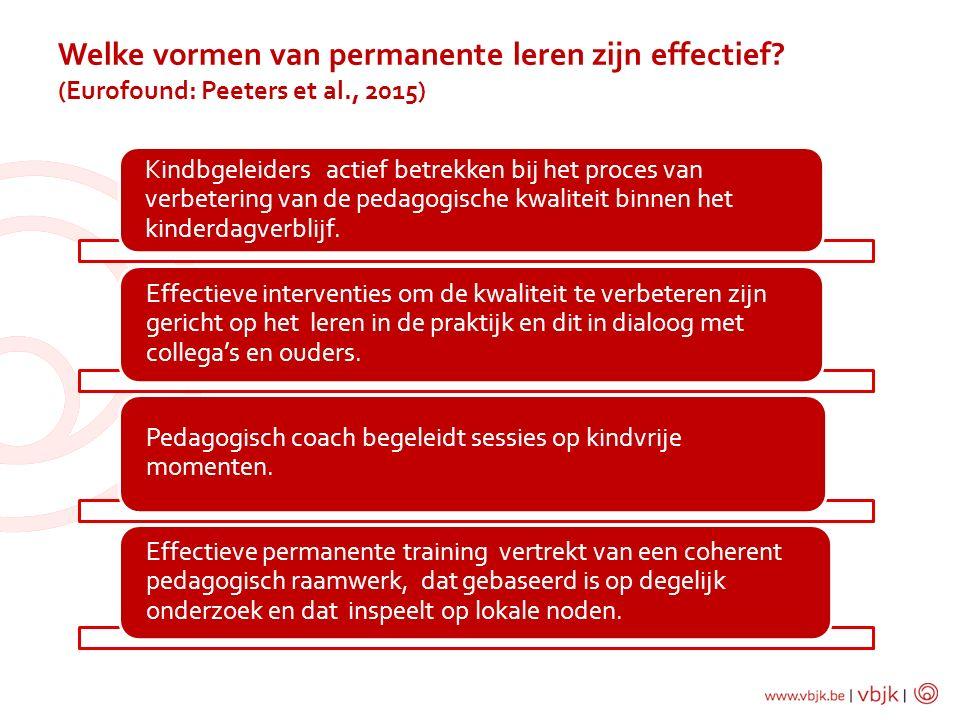 Kindbgeleiders actief betrekken bij het proces van verbetering van de pedagogische kwaliteit binnen het kinderdagverblijf. Effectieve interventies om