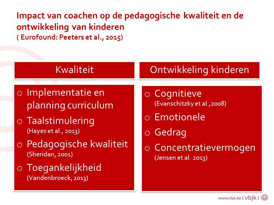 Impact van coachen op de pedagogische kwaliteit en de ontwikkeling van kinderen ( Eurofound: Peeters et al., 2015) Kwaliteit Ontwikkeling kinderen o C
