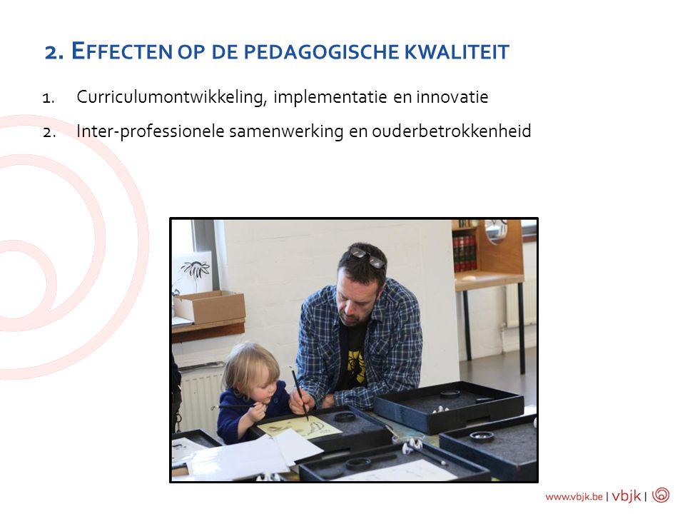 2. E FFECTEN OP DE PEDAGOGISCHE KWALITEIT 1.Curriculumontwikkeling, implementatie en innovatie 2.Inter-professionele samenwerking en ouderbetrokkenhei
