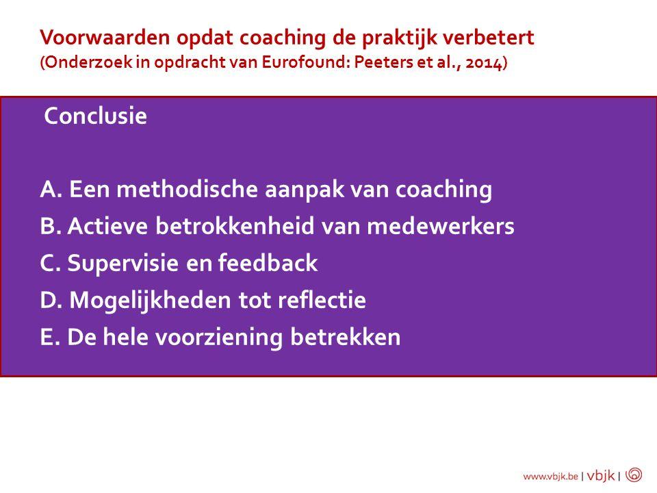 Voorwaarden opdat coaching de praktijk verbetert (Onderzoek in opdracht van Eurofound: Peeters et al., 2014) Conclusie A. Een methodische aanpak van c