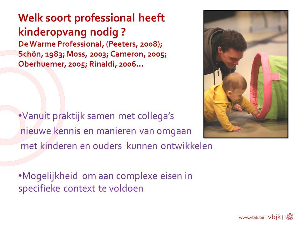 Vanuit praktijk samen met collega's nieuwe kennis en manieren van omgaan met kinderen en ouders kunnen ontwikkelen Mogelijkheid om aan complexe eisen