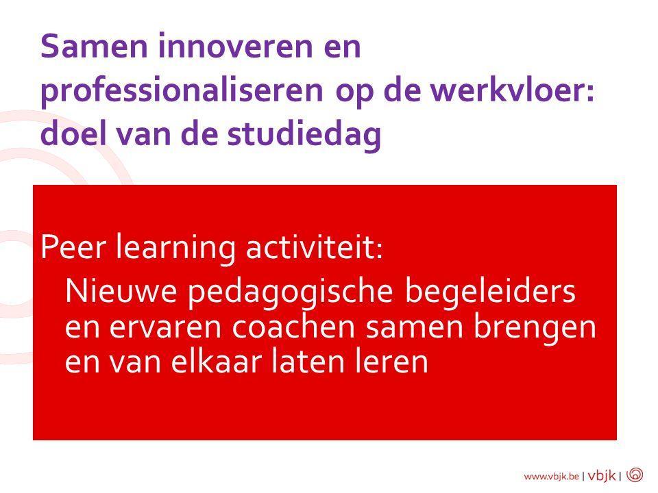 Samen innoveren en professionaliseren op de werkvloer: doel van de studiedag Peer learning activiteit: Nieuwe pedagogische begeleiders en ervaren coac
