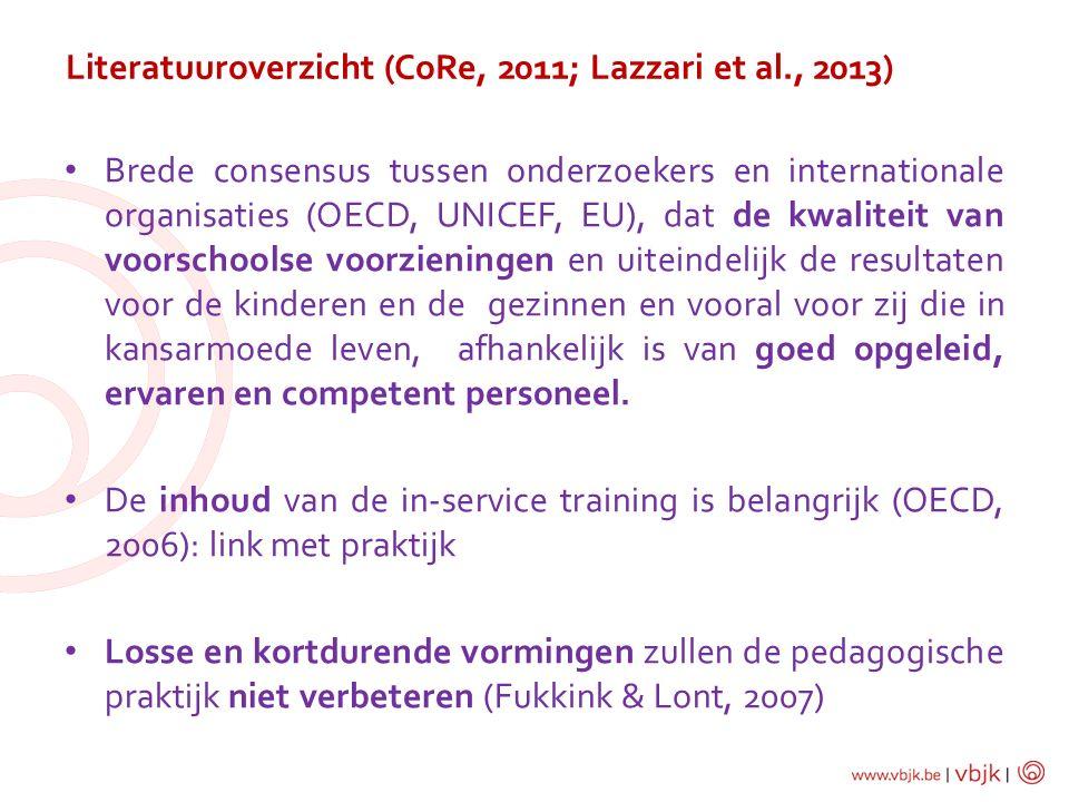 Literatuuroverzicht (CoRe, 2011; Lazzari et al., 2013) Brede consensus tussen onderzoekers en internationale organisaties (OECD, UNICEF, EU), dat de k