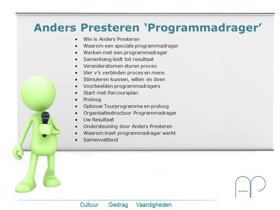 Anders Presteren 'Programmadrager' Wie is Anders Presteren Waarom een speciale programmadrager Werken met een programmadrager Samenhang leidt tot resu
