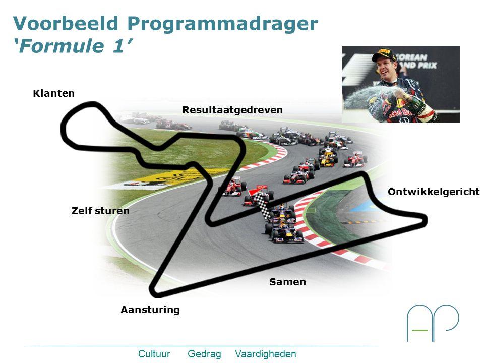 Voorbeeld Programmadrager 'Formule 1' Zelf sturen Ontwikkelgericht Aansturing Resultaatgedreven Klanten Samen Cultuur Gedrag Vaardigheden