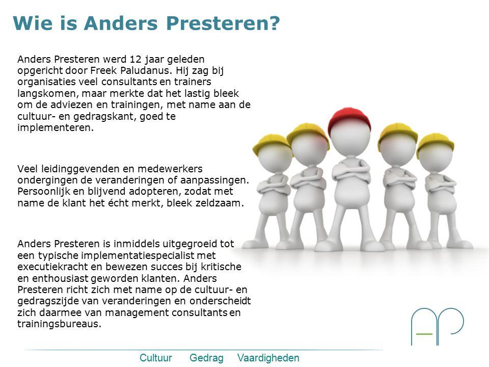 Anders Presteren werd 12 jaar geleden opgericht door Freek Paludanus. Hij zag bij organisaties veel consultants en trainers langskomen, maar merkte da