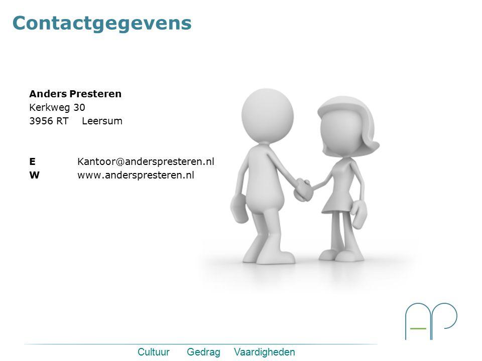 Anders Presteren Kerkweg 30 3956 RT Leersum EKantoor@anderspresteren.nl Wwww.anderspresteren.nl Contactgegevens Cultuur Gedrag Vaardigheden