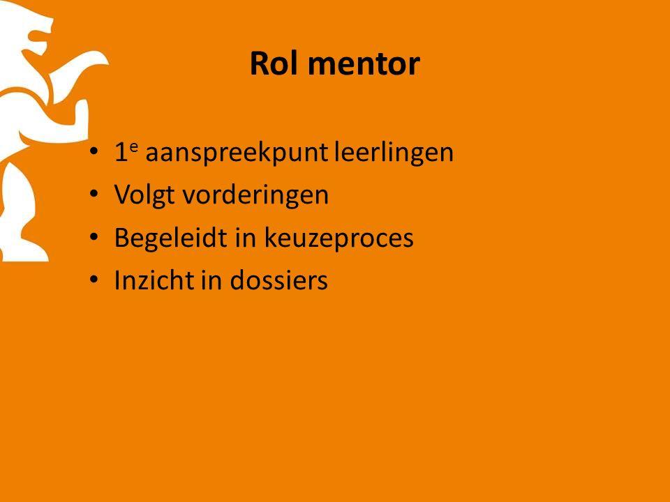 Rol mentor 1 e aanspreekpunt leerlingen Volgt vorderingen Begeleidt in keuzeproces Inzicht in dossiers