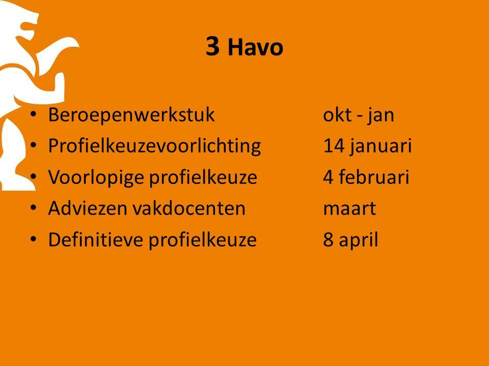 3 Havo Beroepenwerkstukokt - jan Profielkeuzevoorlichting 14 januari Voorlopige profielkeuze4 februari Adviezen vakdocentenmaart Definitieve profielkeuze8 april