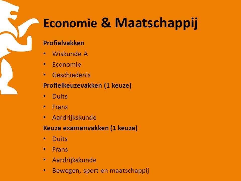 Economie & Maatschappij Profielvakken Wiskunde A Economie Geschiedenis Profielkeuzevakken (1 keuze) Duits Frans Aardrijkskunde Keuze examenvakken (1 keuze) Duits Frans Aardrijkskunde Bewegen, sport en maatschappij