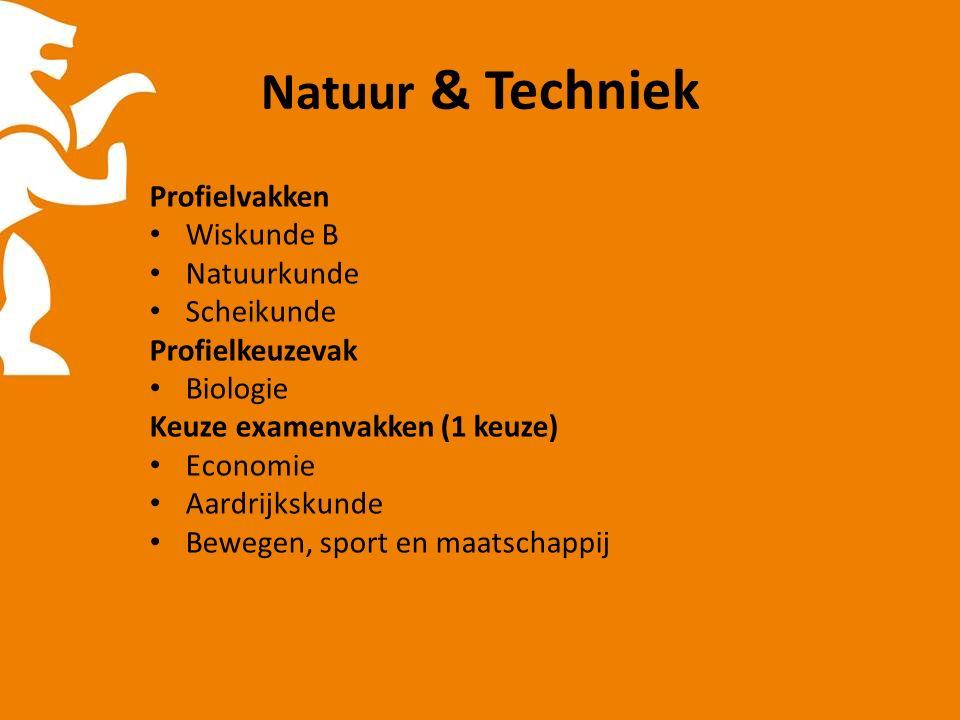 Natuur & Techniek Profielvakken Wiskunde B Natuurkunde Scheikunde Profielkeuzevak Biologie Keuze examenvakken (1 keuze) Economie Aardrijkskunde Bewegen, sport en maatschappij