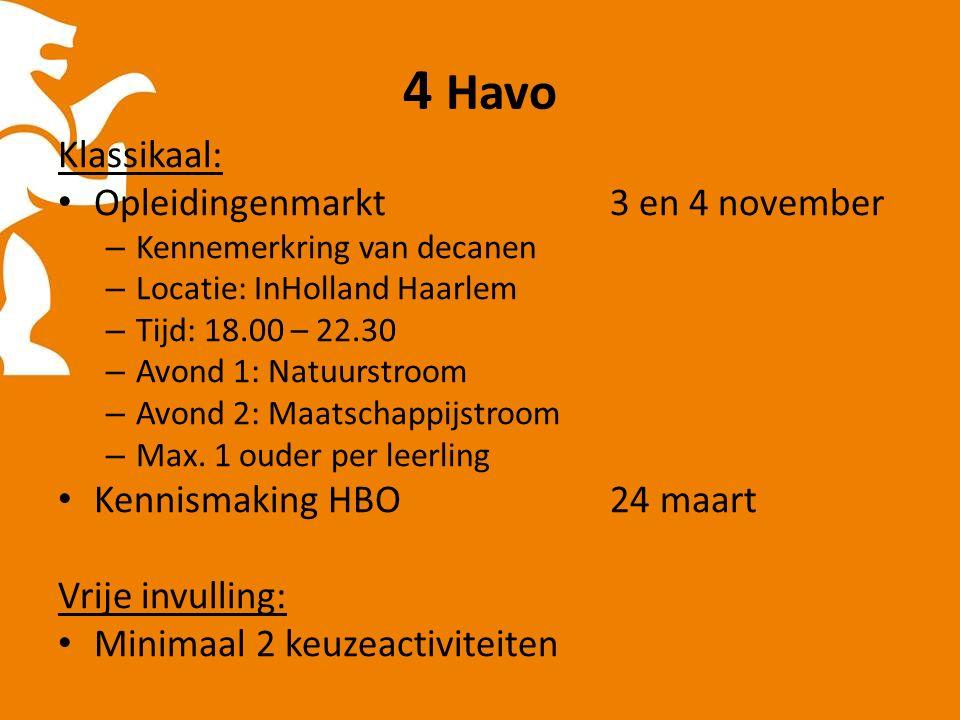 4 Havo Klassikaal: Opleidingenmarkt 3 en 4 november – Kennemerkring van decanen – Locatie: InHolland Haarlem – Tijd: 18.00 – 22.30 – Avond 1: Natuurstroom – Avond 2: Maatschappijstroom – Max.