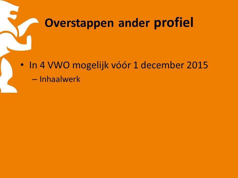 Overstappen ander profiel In 4 VWO mogelijk vóór 1 december 2015 – Inhaalwerk