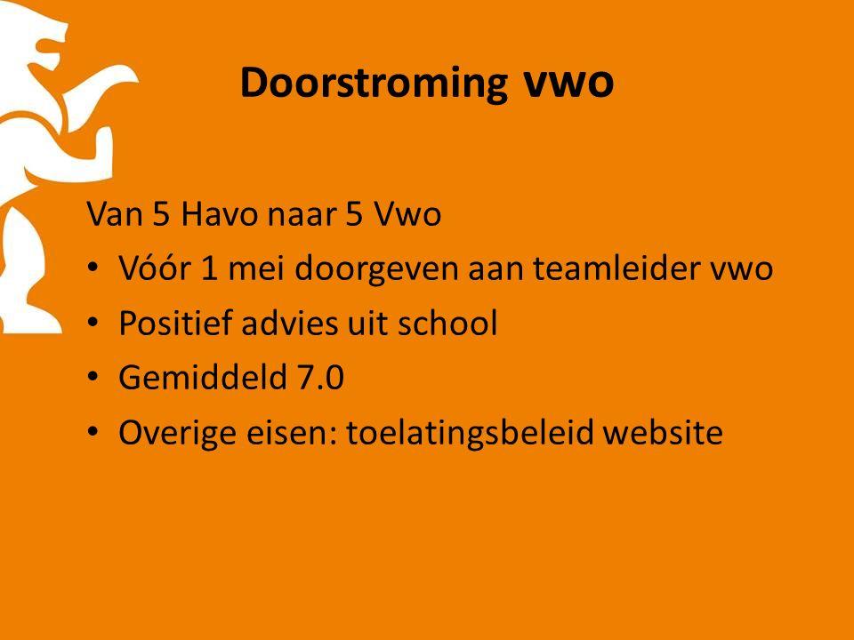 Doorstroming vwo Van 5 Havo naar 5 Vwo Vóór 1 mei doorgeven aan teamleider vwo Positief advies uit school Gemiddeld 7.0 Overige eisen: toelatingsbeleid website
