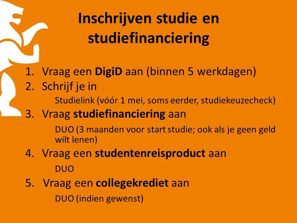 Inschrijven studie en studiefinanciering 1.Vraag een DigiD aan (binnen 5 werkdagen) 2.Schrijf je in Studielink (vóór 1 mei, soms eerder, studiekeuzecheck) 3.Vraag studiefinanciering aan DUO (3 maanden voor start studie; ook als je geen geld wilt lenen) 4.Vraag een studentenreisproduct aan DUO 5.