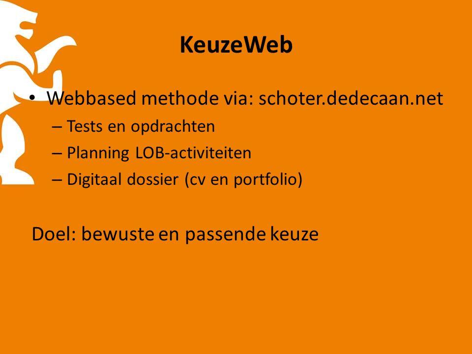 KeuzeWeb Webbased methode via: schoter.dedecaan.net – Tests en opdrachten – Planning LOB-activiteiten – Digitaal dossier (cv en portfolio) Doel: bewuste en passende keuze