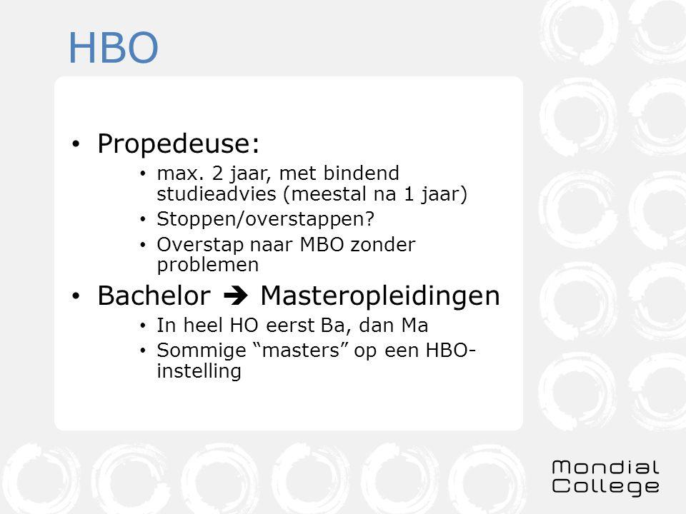 HBO Propedeuse: max.2 jaar, met bindend studieadvies (meestal na 1 jaar) Stoppen/overstappen.